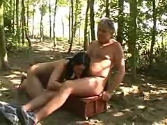 Young and Old Outdoor sex in forest