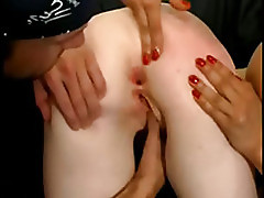 French redhead sreaming when anal