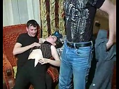 Bisexual Russian threesome scene with slut
