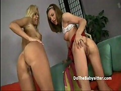 Young nanny and busty blonde wife pu...