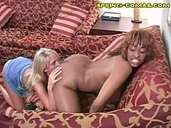 Hot interracial chick on chick