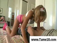 Beautiful blond teen gives blowjob