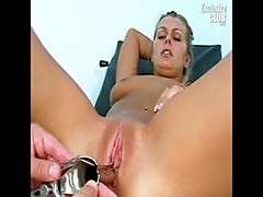 Blonde bambi having pussy gyno examined by old doctor