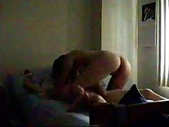Guy tied to bed gets blowjob and fuck