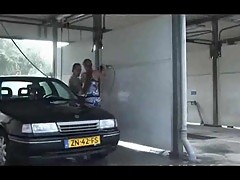 Piblic threesome after car washing