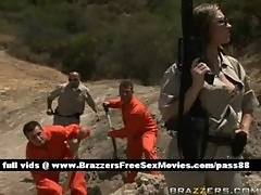 Nasty redhead cop takes care of some prisoners
