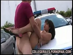 Teen fucked on cop car