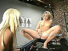 Slut using fuck chair to please herself riding electric fuck machines in total masturbation video