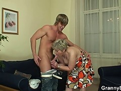 Lonely granny takes big cock