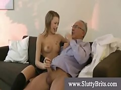 Tight youngster in stockings and heels blows and humps grandpa