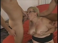Granny take 2 young cock