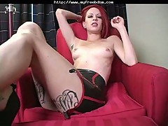 Latex Redhead Teen Mistress Makes You Jerk Off