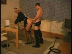 Young waiter sucked and fucked by horny mature babe
