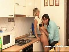 Mature Blond Milf in kitchen