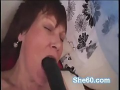 Short haired grandma fucks black big dildo and young cock