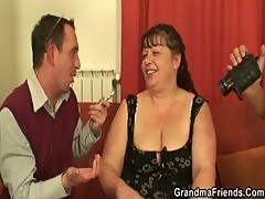 Two dudes bang fat mature bitch