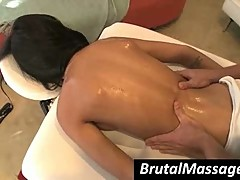Seductress Amia Miley gets massaged