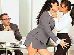 Pornstars Kaylani & Tori Black - hot lesbians in office threesome