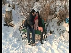Public sex in the snow