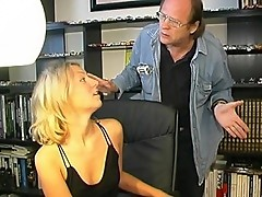 Blonde Secretary Begs for Finger and Tongue