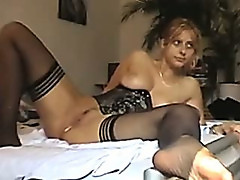 Hardcore Dildo Anal Stuffed Wife In Stockings